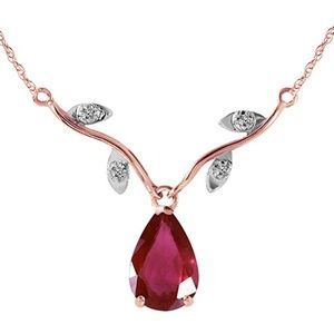 Rose Gold Natural 1.52 Carat Ruby Diamond necklace